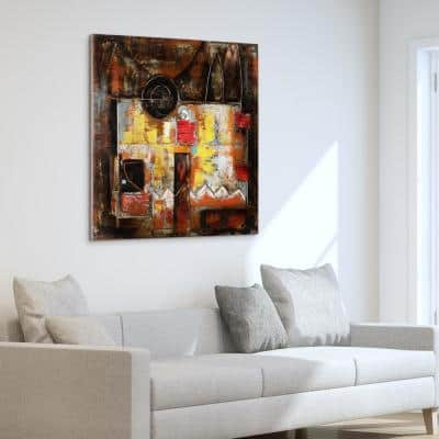 """48 in. x 48 in. """"Abstraction 1"""" Mixed Media Iron Hand Painted Dimensional Wall Art"""