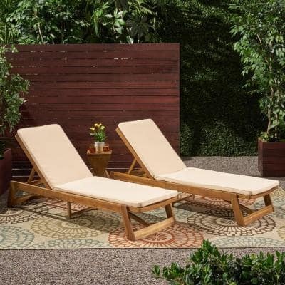 Nadine 23.75 in. x 1.5 in. 2-Piece Fabric Outdoor Chaise Lounge Cushions in Cream