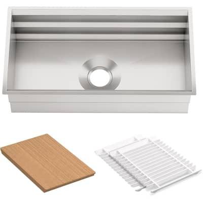 Prolific Workstation Undermount Stainless Steel 33 in. Single Bowl Kitchen Sink Kit with Accessories