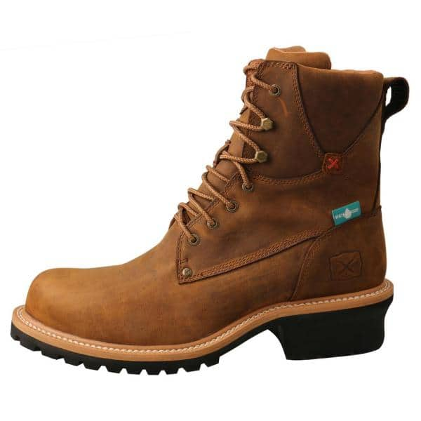"""Twisted X Men/'s Distressed Saddle Brown 8/"""" Logger Work Boots MLGCW03"""