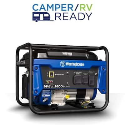 WGen3600cv 4,650/3,600-Watt Gasoline Powered RV-Ready Portable Generator with Recoil Start and CO Sensor