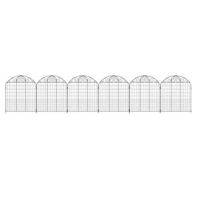 Rockdale 43.8 in. Black Steel Fence Panel (6-Pack)