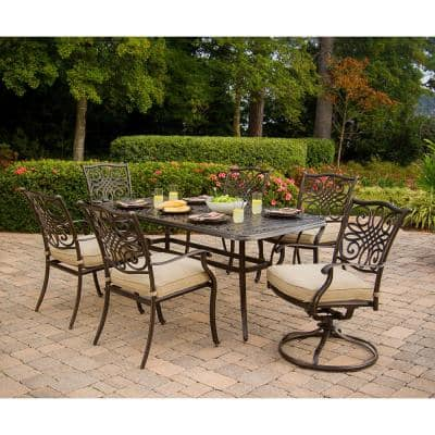 Seasons 7-Piece Aluminum Outdoor Dining Set with Tan Cushions with Dining Chairs, 2 Swivel Chairs and Table