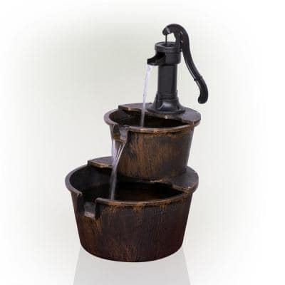27 in. Tall 2-Tier Barrel and Pump Waterfall Fountain, Bronze Finish