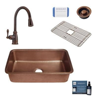 Orwell All-In-One Undermount Copper 30 in. Single Bowl Kitchen Sink with Pfister Rustic Bronze Faucet and Drain