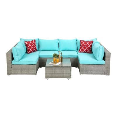 7-Piece Blue Polyester Cushions Grey Outdoor Rattan 6-Seats Symmetrical Sectionals Sofa with 2-Pillows and Table