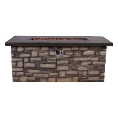 60 in. L Sevilla Outdoor Rectangular Propane Gas Stone Fire Pit Table with Lava Rock