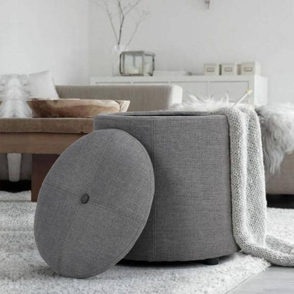 Furniturer Whakamaru Grey Storage Ottoman Whakamaru Grey Lmkz The Home Depot