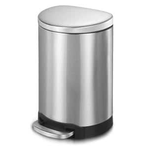 10.6 Gal./40-Liter Fingerprint Free Brushed Stainless Steel Semi-Round Step-On Trash Can