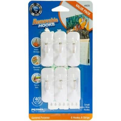 Small Wire Hooks Value, Removable Adhesive Strips, White (6-Pack)