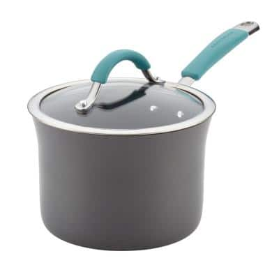 Cucina 3 qt. Aluminum Nonstick Sauce Pan in Agave Blue with Glass Lid