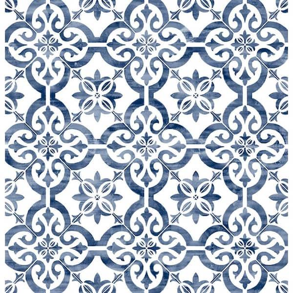 Lillian August Porto Tile Riviera Blue Geometric Vinyl Peel Stick Wallpaper Roll Covers 40 5 Sq Ft Ln21212 The Home Depot