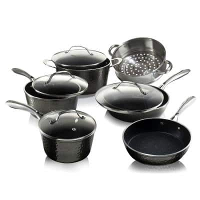 10-Piece Aluminum Hammered Ultra-Durable Non-Stick Diamond Infused Cookware Set in Pewter