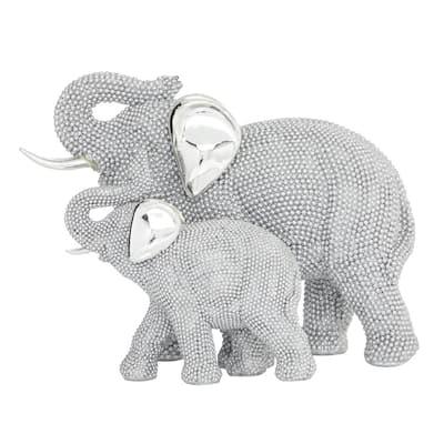 Silver Polystone Glam Elephant Sculpture