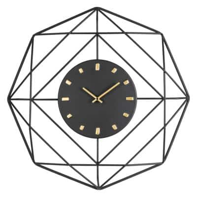 24.02 in. D Modern Metal Black and Golden Wall Clock