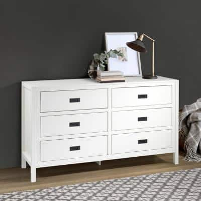 """57"""" Classic Solid Wood 6-Drawer Dresser - White"""