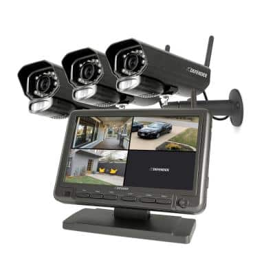 """PHOENIXM2 Non-Wi-Fi. Plug-In Power Security Camera System with 7"""" Monitor SD Card Recording and 3 Night Vision Cameras"""