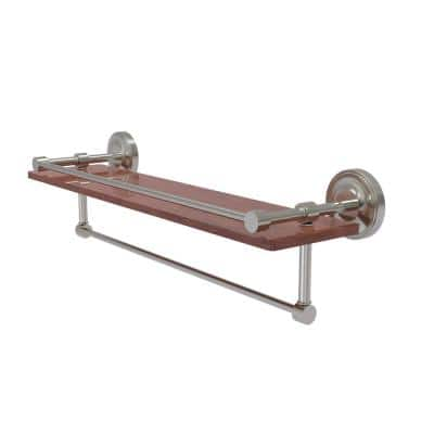 Prestige Regal Collection 22 in. IPE Ironwood Shelf with Gallery Rail and Towel Bar in Satin Nickel
