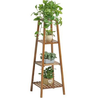 4-Tier Shelf Flower Pot Plant Stand Bamboo Wooden Rack Garden Indoor Outdoor Balcony Living Room