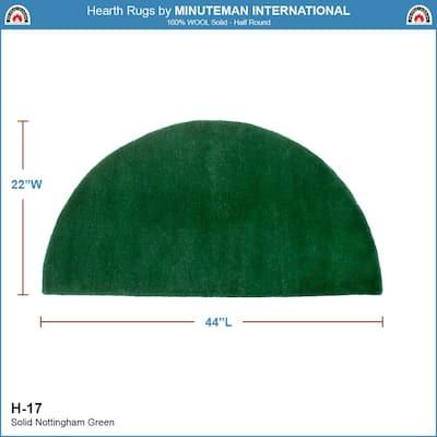 2 ft. x 4 ft. Nottingham Half Round Hearth Rug, Green