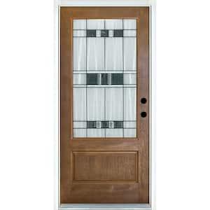 36 in. x 80 in. Savana Medium Oak Left-Hand Inswing 3/4 Lite Decorative Fiberglass Prehung Front Door