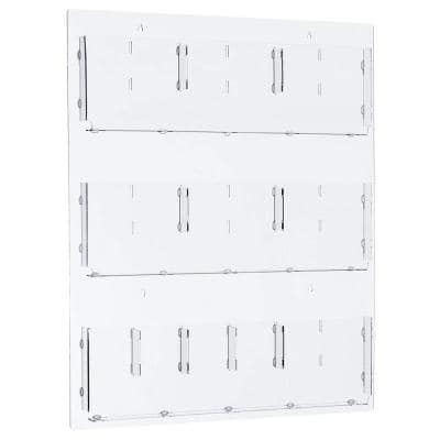 29 in. x 35 in. Adjustable Pockets Clear Acrylic Hanging Magazine Rack
