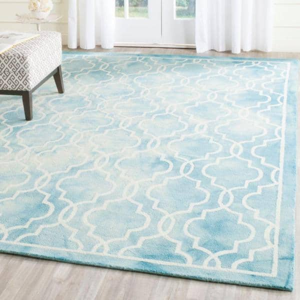 Safavieh Dip Dye Turquoise Ivory 8 Ft X 10 Ft Area Rug Ddy539d 8 The Home Depot