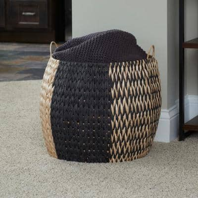 Black and Natural Pattern Large Woven Decorative Basket with Handles