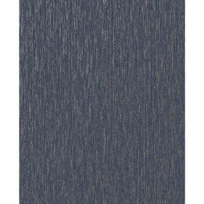 Vittorio Plain TextuRed Navy/Pale Gold (rose Gold) Paper Peelable Roll (Covers 56 sq. ft.)