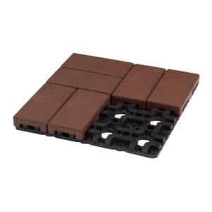 4 in. x 8 in. Redwood Composite Resurfacing Paver Grid System (8 Pavers and 1 Grid)