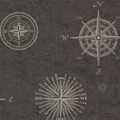 Navigate Charcoal Vintage Compass Charcoal Wallpaper Sample