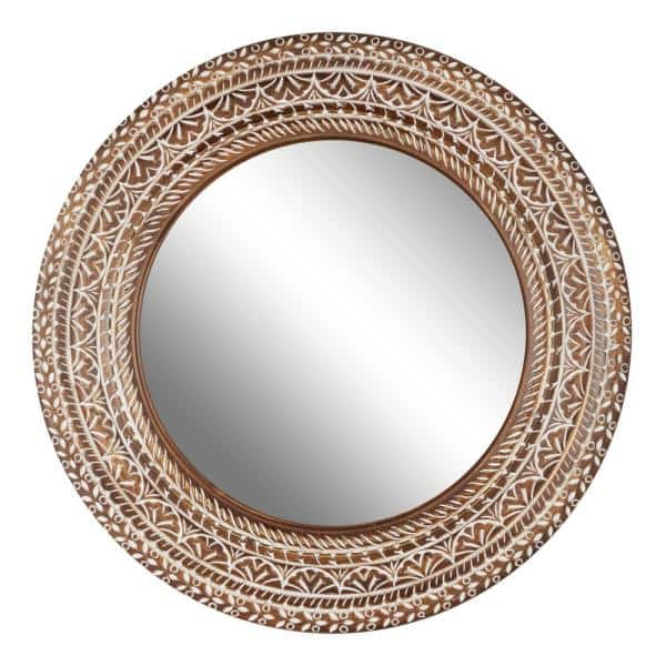 Litton Lane Large White And Natural, Natural Carved Wood Round Mirror