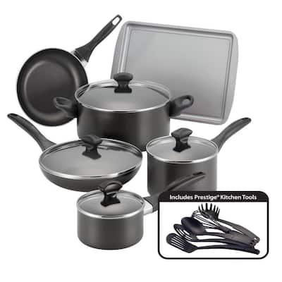 Dishwasher Safe 15-Piece Aluminum Nonstick Cookware Set in Black