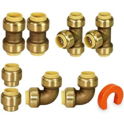 Plumbing Kit for 1/2 in. Pipes Includes Tees Elbows Coupling and Cap Push Fittings (2 of Each) With Bonus Removal Tool