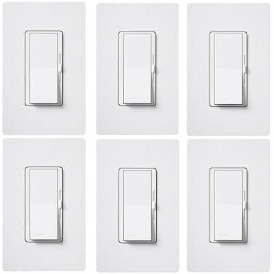 Diva LED+ Dimmer Switch for Dimmable LED, Halogen/Incandescent with Wallplate, Single-Pole/3-Way, White (6-Pack)