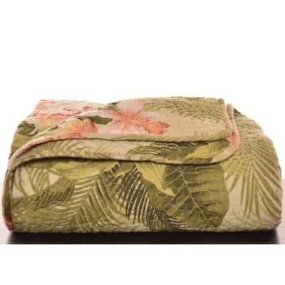 """Tropical Orchid Cotton 70 in. L"""" X 50in. W"""" Throw"""