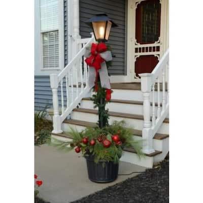 Cape Cod Plug-In Outdoor Black Post Lantern with Planter