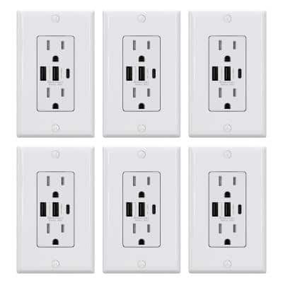 30-Watt 3-Port Type C & Dual Type A USB Duplex Outlet Smart Chip High Speed Charging Wall Plate Included, White (6-Pack)