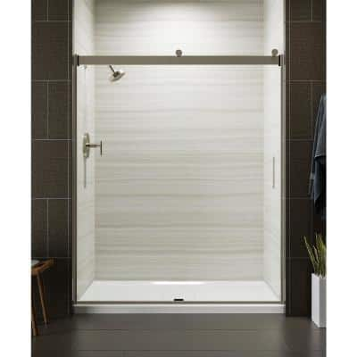 Levity 59 in. x 74 in. Semi-Frameless Sliding Shower Door in Nickel with Handle