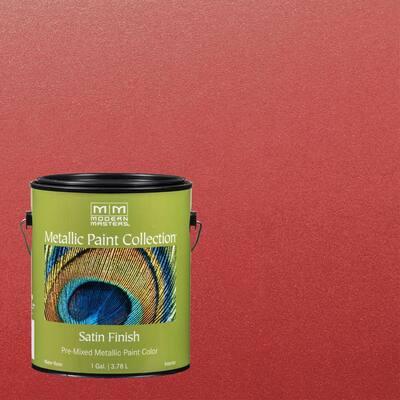 1 gal. Sashay Red Water-Based Satin Metallic Interior Paint