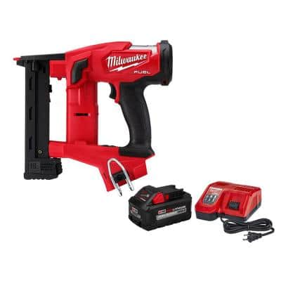 M18 FUEL 18-Volt Lithium-Ion Brushless Cordless 18-Gauge 1/4 in. Narrow Crown Stapler W/ 8.0Ah Battery & Rapid Charger