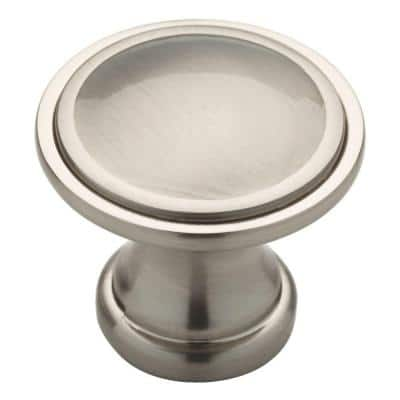 Classic 1-3/4 in. (45mm) Satin Nickel Oversized Ridge Round Cabinet Knob