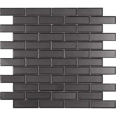 Metallic Gray Bevel Subway 11.73 in. x 11.73 in. x 8mm Glass Mesh-Mounted Mosaic Tile (9.6 sq. ft. / case)