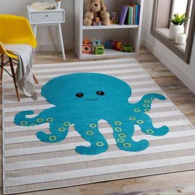 Need a Hand? Multi-Colored Blue/White/Yellow/Black 3 ft. 11 in. x 5 ft. 7 in. Area Rug