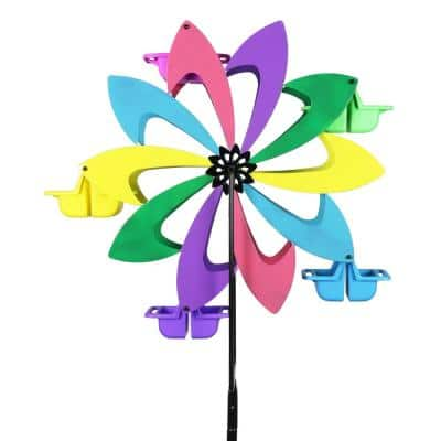 Colorful Pinwheel Spinning Metal Bird Feeder