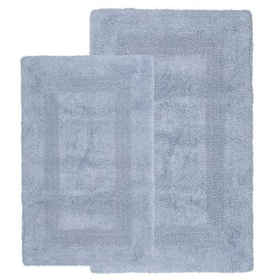Silver 1 ft. 10 in. x 2 ft. 11 in. Cotton 2-Piece Bath Rug Set