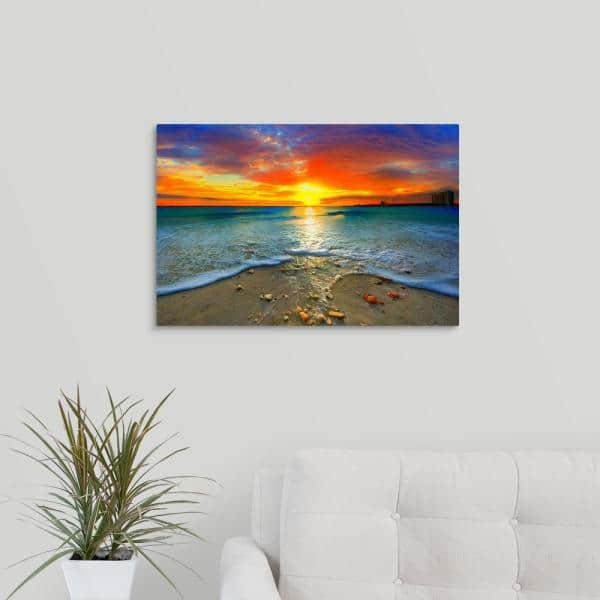 Greatbigcanvas 24 In X 16 In Amazing Red Sunset Over Blue Ocean By Eszra Tanner Canvas Wall Art 2528563 24 24x16 The Home Depot