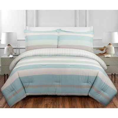 Coastal Stripe 3-Piece Multicolor Cotton King Duvet Cover Set