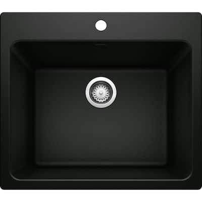 Liven 25 in. x 22 in. x 12 in. Granite Undermount Laundry Sink in Coal Black