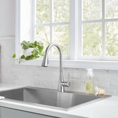Sadira Touchless Single-Handle Pull-Down Sprayer Kitchen Faucet with TurboSpray and FastMount in Stainless Steel